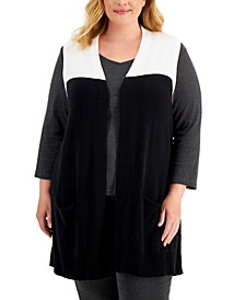 Plus Size Colorblocked Duster Vest, Created for Macy's
