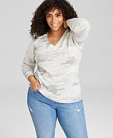 Plus Size Camo-Print Cashmere Sweater, Created for Macy's