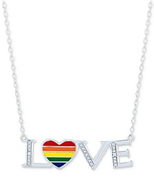 """Diamond Accent LOVE Heart Pendant Necklace in Sterling Silver, 16"""" + 4"""" extender"""