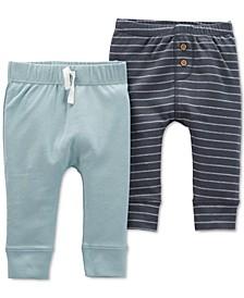 Baby Boys 2-Pk. Cotton Striped & Sold Pants