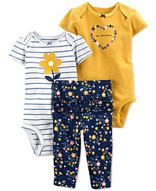 Baby Girls 3-Pc. Floral Little Character Set