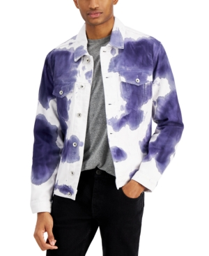 Men's Modern-Fit Stretch Tie-Dyed Denim Jacket