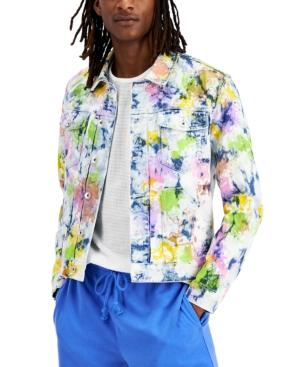 Men's Modern-Fit Stretch Painted Denim Jacket