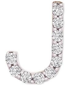 Diamond Initial J Single Stud Earring (1/20 ct. t.w.) in 14k Gold, Created for Macy's