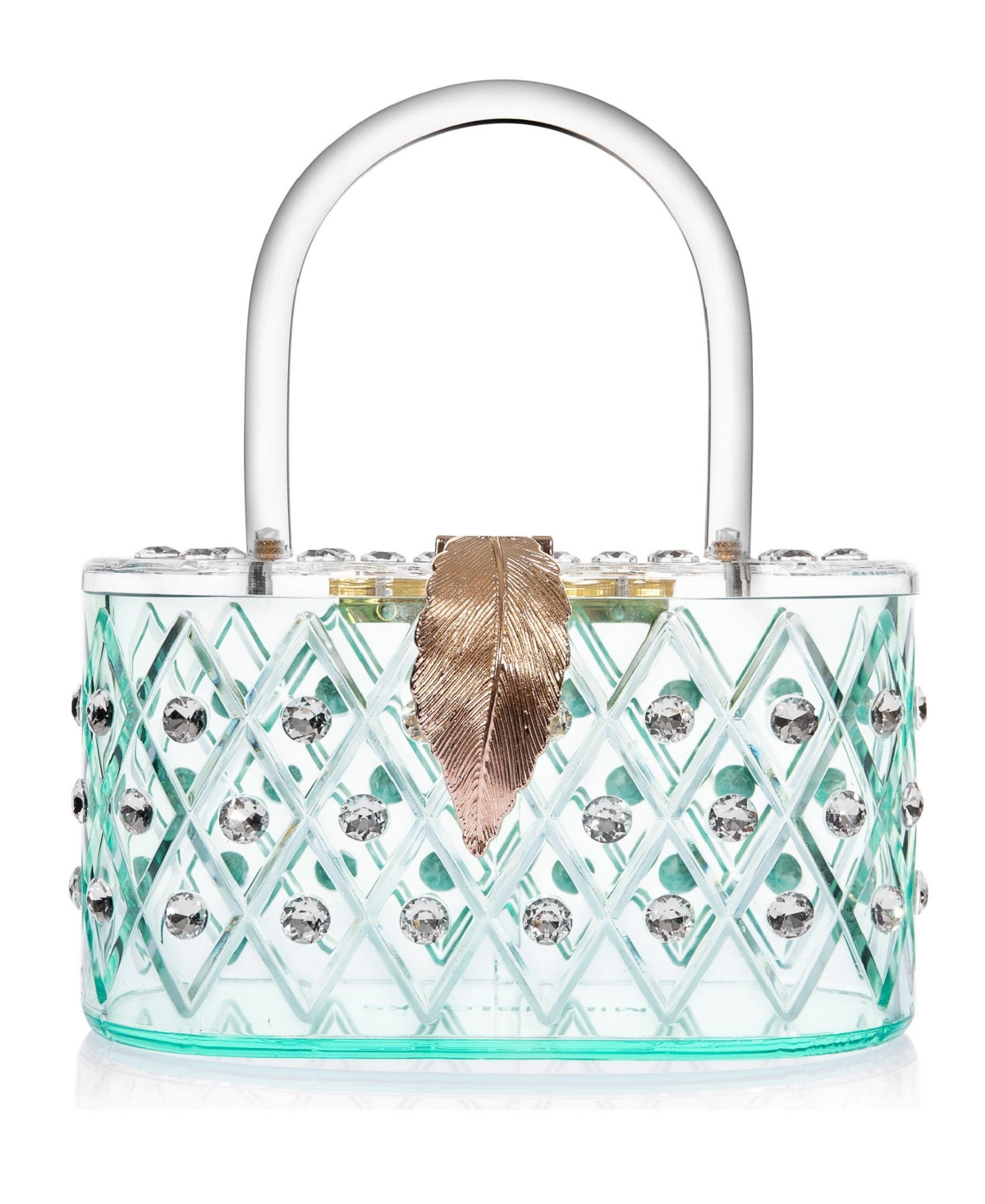 "Milanblocks 1950 Retro Style ""Spearmint Ice"" Crystal Lucite Box Clutch Bag"