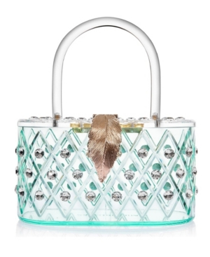 """1950 Retro Style """"Spearmint Ice"""" Crystal Lucite Box Clutch Bag"""