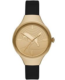 Women's Contour Three-Hand Black Polyurethane Single Button Stud Watch 36mm