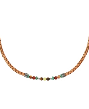 by Carolyn Pollack Sterling Silver Multi Gemstone Beads on a Chambray Tan Braided Genuine Leather Necklace