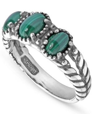 by Carolyn Pollack Sterling Silver Gemstone 3-Stone Ring in Malachite