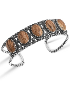 by Carolyn Pollack Sterling Silver Rope Cuff Bracelet in Picture Jasper