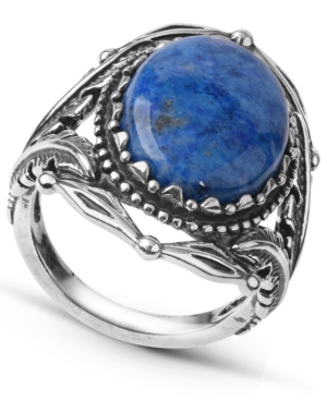 by Carolyn Pollack Sterling Silver Gemstone Statement Ring in Picture Jasper or Denim Lapis