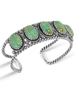 by Carolyn Pollack Green Turquoise Gemstone Rope Cuff Bracelet in Sterling Silver