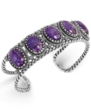 by Carolyn Pollack Purple Charoite Rope Cuff Bracelet in Sterling Silver