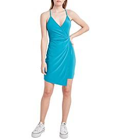 Knotted-Waist Faux-Wrap Dress