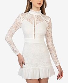 Juniors' Lace Ruffle Slim Dress