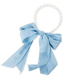 Audrey Imitation Pearl & Blue Ribbon Headband