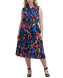 Plus Size Floral-Print Midi Shirtdress