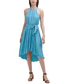 Plaid Gauze Halter Dress