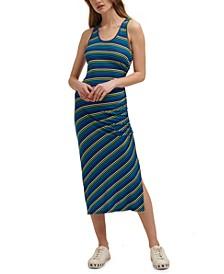 Side-Ruched Striped Midi Dress