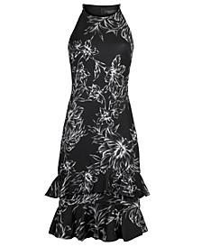 High-Neck Tiered-Hem Dress