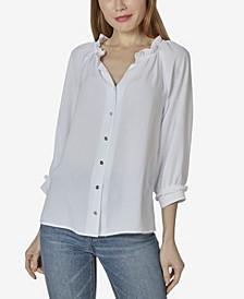 Women's 3/4 Sleeve Button Up Raglan Top with Ruffle Neck