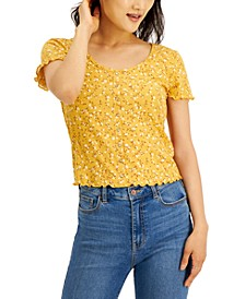 Juniors' Ribbed Snap-Front Top