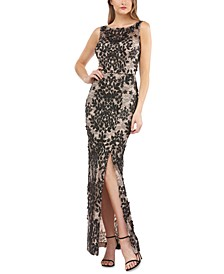Embroidered Side-Slit Gown