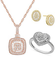 Diamond Baguette Starburst Collection in 14k White, Yellow Or Rose Gold
