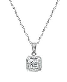 "Diamond Princess Halo 18"" Pendant Necklace (1/2 ct. t.w.) in 14k White Gold"
