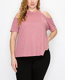 Plus Size Thermal Cold Shoulder Tee