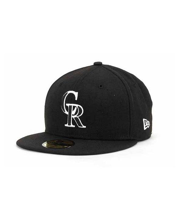 New Era Colorado Rockies Black and White Fashion 59FIFTY Cap