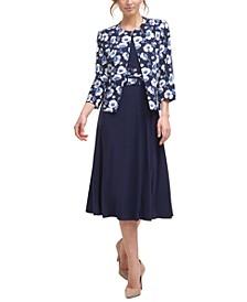2-Pc. Floral-Print Jacket & Midi Dress Set