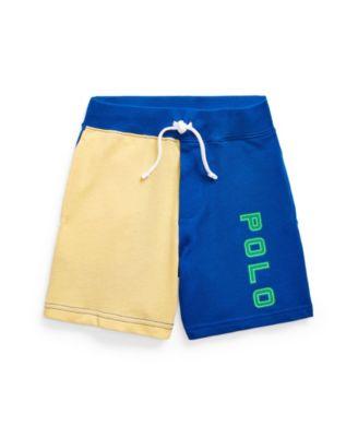 폴로 랄프로렌 Polo Ralph Lauren Little Boys Color-Blocked Spa Terry Shorts,Blue