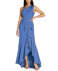 One-Shoulder Beaded Ruffled Gown
