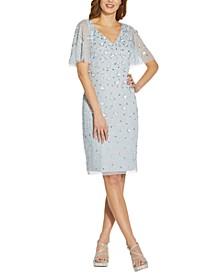 Sequin Flutter-Sleeve Dress