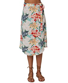 Juniors' Gracia Floral-Print Wrap Skirt