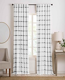 "Farmhouse Living Double Windowpane Plaid Room Darkening Window Curtain Panel, 52"" x 95"""