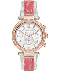 Women's Parker White and Tea Rose Polyvinyl Chloride Patchwork Strap Watch 39mm