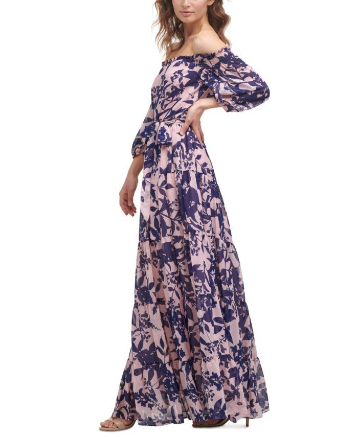 Eliza J Printed Chiffon Gown & Reviews - Dresses - Women - Macy's
