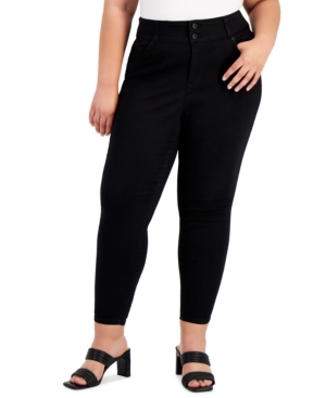 Trendy Plus Size Two-Button Skinny Jeans