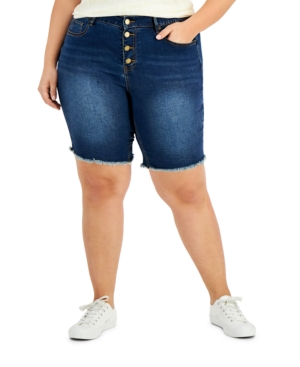 Trendy Plus Size Exposed Button Bermuda Jean Shorts