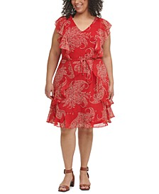 Plus Size Paisley-Print Fit & Flare Dress