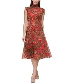 Flutter-Sleeve Chiffon Dress
