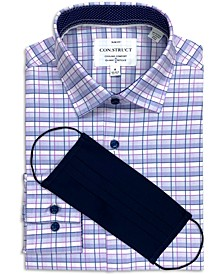 Con.Struct Men's Slim-Fit Performance Stretch Fine Plaid Dress Shirt and Free Face Mask, Created for Macy's