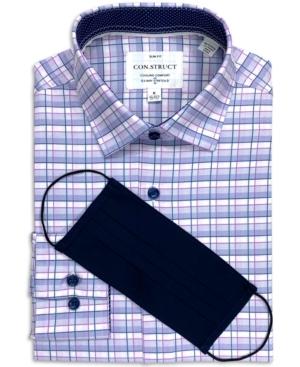 Con. Struct Men's Slim-Fit Performance Stretch Fine Plaid Dress Shirt