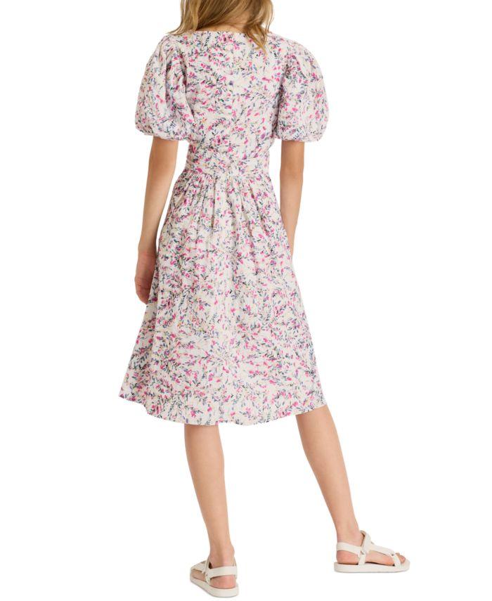French Connection Floral-Print V-Neck Cotton Dress & Reviews - Dresses - Women - Macy's