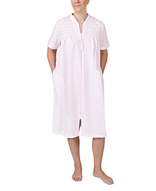 Short-Sleeve Short Knit Zipper Robe