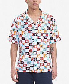 Tommy Hilfiger Men's Space Jam: A New Legacy x Tommy Jeans Checker Print Camp Collar Short Sleeve Shirt
