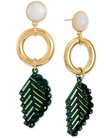 INC Gold-Tone Stone & Multi-Bead Leaf Statement Earrings, Created for Macy's
