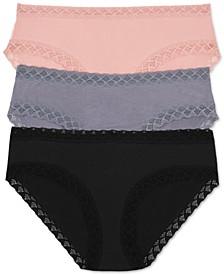 Bliss 3-Pk. Lace-Trim Cotton Brief 156058MP